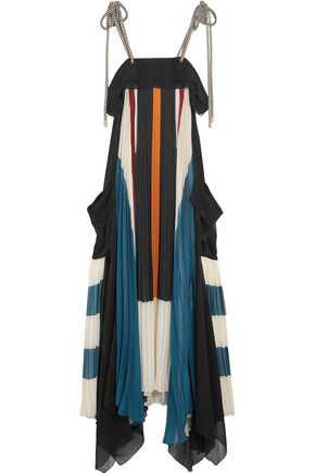 CHLOÉ Asymmetric paneled pleated striped crepe gown
