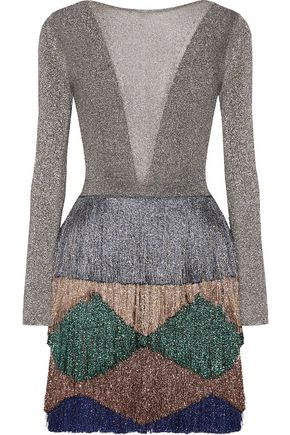MISSONI Tiered fringed metallic knitted mini dress
