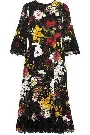 DOLCE & GABBANA Lace-trimmed floral-print silk-blend dress