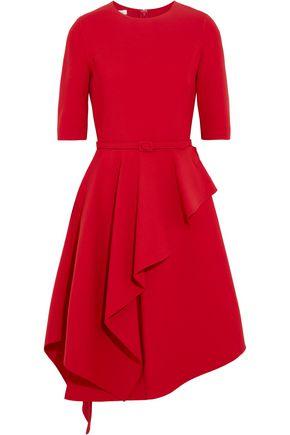 OSCAR DE LA RENTA Draped wool-blend dress