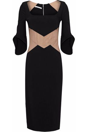 ANTONIO BERARDI Tulle-paneled two-tone crepe dress