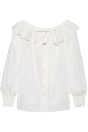 MARC JACOBS Ruffle-trimmed cotton-poplin top