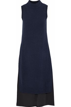 JOSEPH Layered silk-crepe and wool and cashmere-blend midi dress