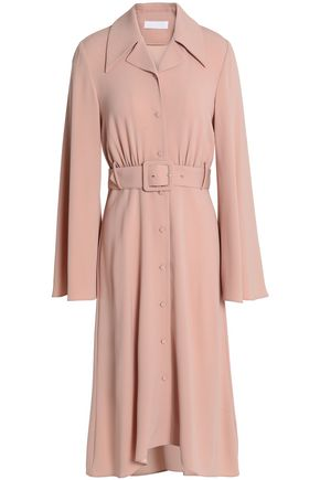 CO Belted gathered crepe shirt dress