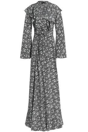 CO Ruffled floral-print silk maxi wrap dress