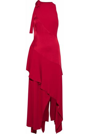 ANTONIO BERARDI Layered ruffled satin and crepe midi dress