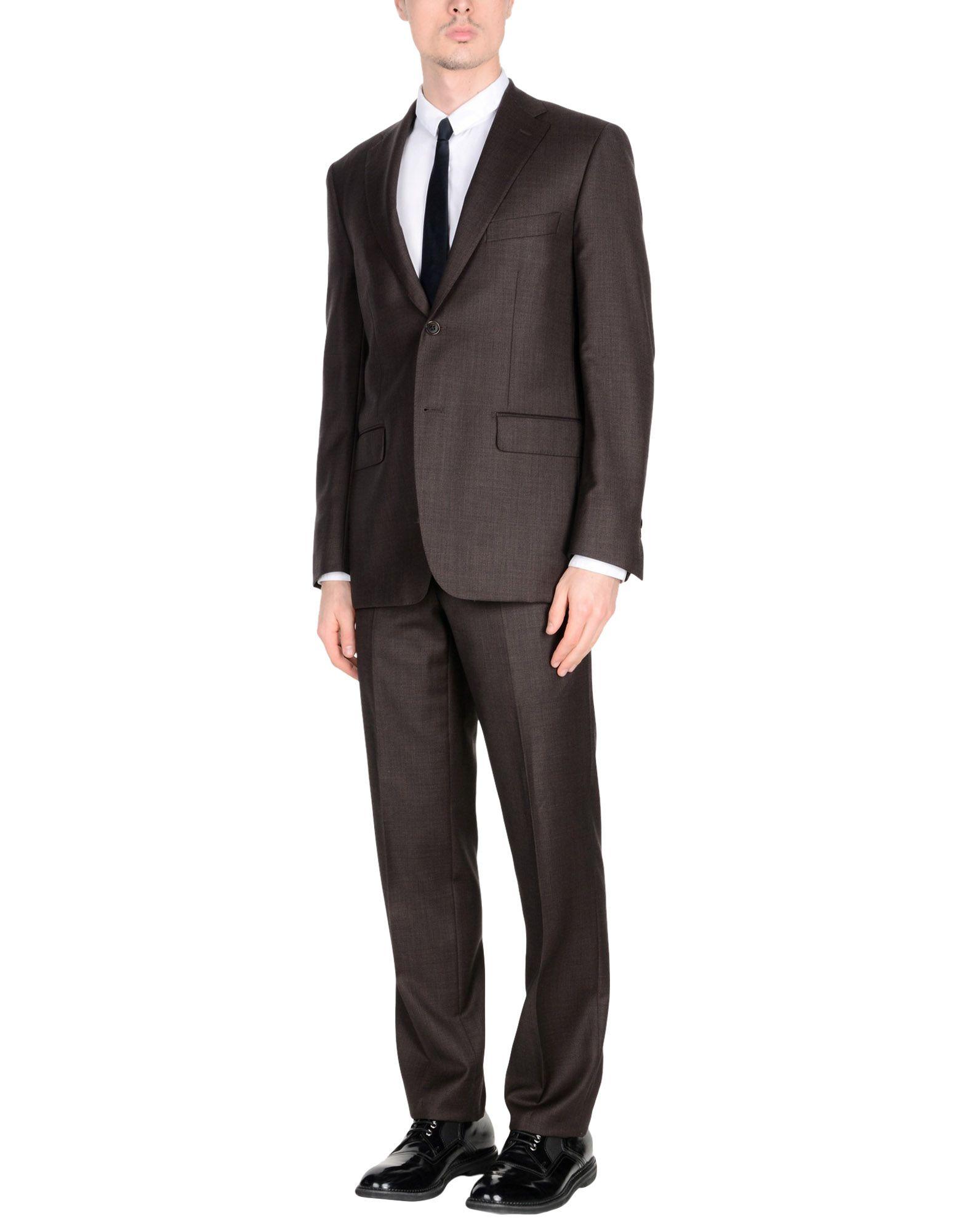 《送料無料》JASPER REED メンズ スーツ ダークブラウン 48 スーパー120 ウール