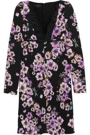 GIAMBATTISTA VALLI Lace-trimmed floral-print silk mini dress