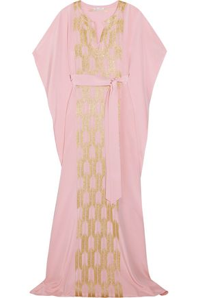OSCAR DE LA RENTA Draped embroidered metallic silk gown