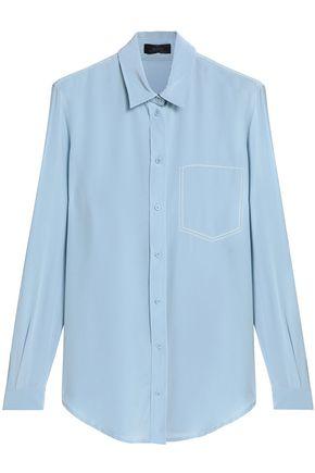 JOSEPH Embroidered silk crepe de chine shirt