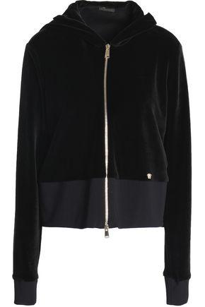 VERSACE Cotton-blend velvet hooded sweatshirt