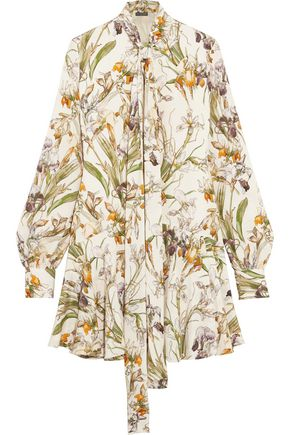 ALEXANDER MCQUEEN Pussy-bow floral-print silk mini dress