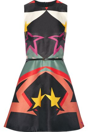 ELIE SAAB Belted flared printed crepe-satin mini dress