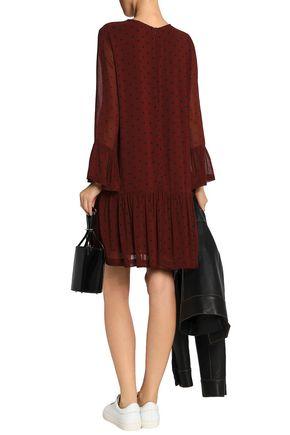 GANNI Polka-dot georgette mini dress