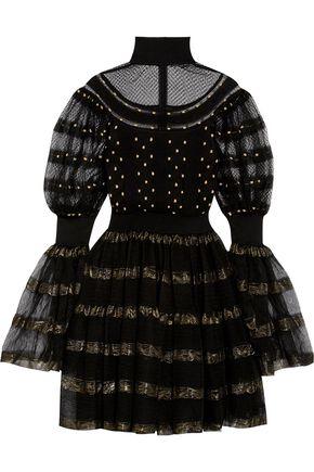 ALEXANDER MCQUEEN Metallic-trimmed silk-blend jacquard mini dress