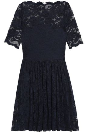 GANNI Pleated lace mini dress