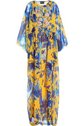 SACHIN & BABI Embellished printed chiffon maxi dress
