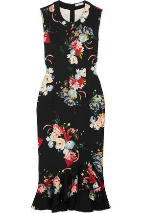 ERDEM Rose Bouquet fluted floral-print scuba dress