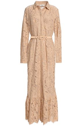 GANNI Belted corded lace midi dress