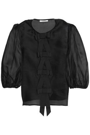 GANNI Bow-embellished silk-organza blouse