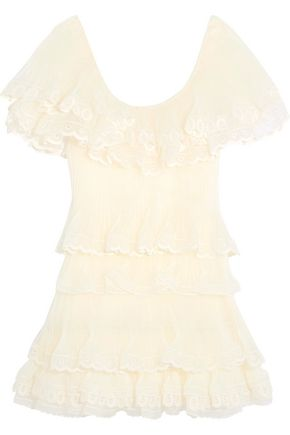 CHLOÉ Tiered pleated silk-organza mini dress