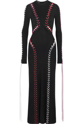 ALEXANDER MCQUEEN Leather lace-up ribbed-knit maxi dress