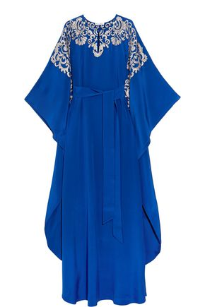 OSCAR DE LA RENTA Draped embroidered silk maxi dress