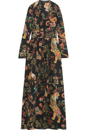 ETRO Lace-trimmed printed silk-crepe gown
