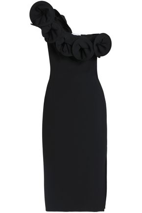 OSMAN One-shoulder ruffled crepe midi dress