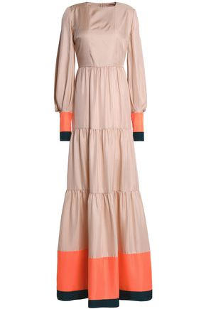 ROKSANDA Tiered color-block silk-twill gown
