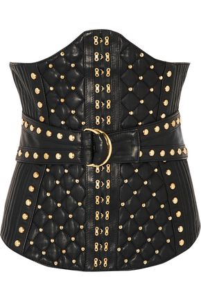 BALMAIN Studded quilted leather bustier