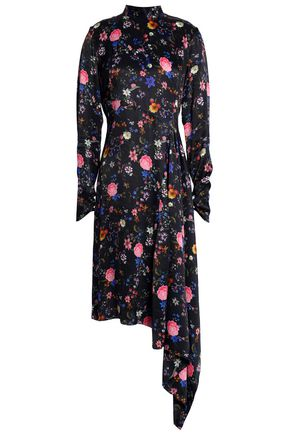 OSMAN Asymmetric floral-print satin dress