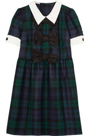 MIU MIU Bow-embellished checked wool mini dress
