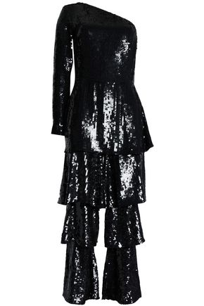 OSMAN One-shoulder tiered sequined knitted jumpsuit