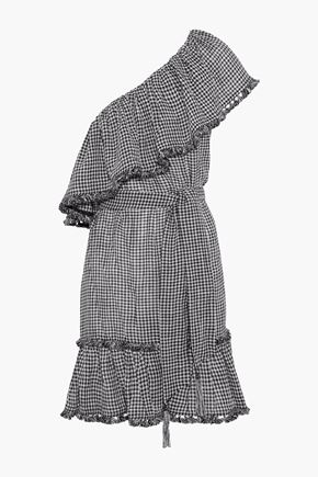 ZIMMERMANN One-shoulder gingham linen and cotton-blend mini dress