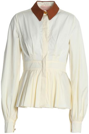 ROKSANDA Pleated cotton-poplin shirt
