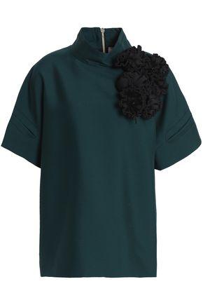 ROKSANDA Floral-appliquéd embroidered wool and silk-blend top