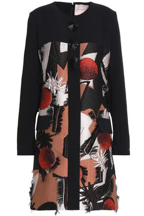ROKSANDA Cyrene jacquard-paneled embellished silk-blend mini dress
