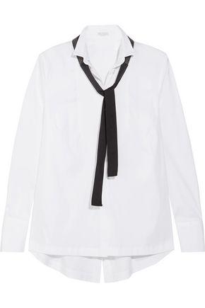 BRUNELLO CUCINELLI Pussy-bow organic cotton-blend poplin shirt