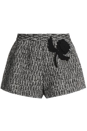 REDValentino Appliquéd wool and cotton-blend tweed shorts