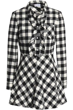 REDValentino Ruffle-trimmed gingham cotton-flannel mini dress