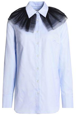 OSMAN Tulle-embellished cotton-twill shirt