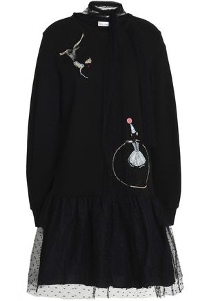 REDValentino Embroidered point d'esprit and cotton-fleece dress