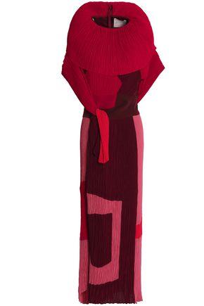 ROKSANDA Printed plissé crepe gown