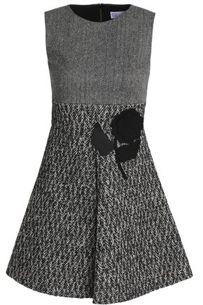 REDValentino Floral-appliquéd herringbone wool-blend tweed mini dress