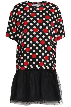 REDValentino Polka-dot paneled point d'esprit and stretch-jersey mini dress