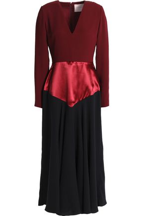ROKSANDA Color-block satin-crepe midi dress