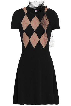REDValentino Point d'esprit-trimmed intarsia-knit mini dress