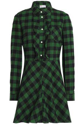 REDValentino Ruffle-trimmed checked cotton-flannel mini dress