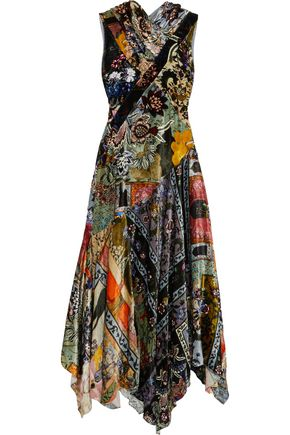 ERDEM Reza patchwork-effect printed velvet maxi dress